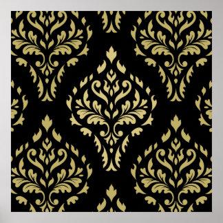 Damastast lövrik barock mönstersvart & guld poster
