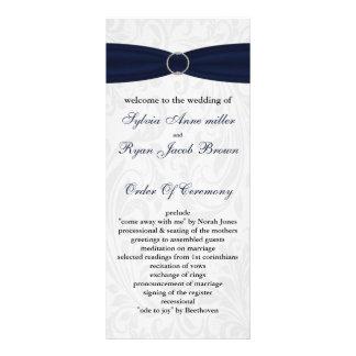 """damastast """"marinblå"""" bröllopsprogram rackkort med full färg"""