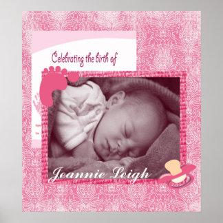 Damastast minnessak för flickafödelsefoto affischer