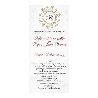 Damastast MONOGRAMbröllopsprogram Personliga Rack Kort