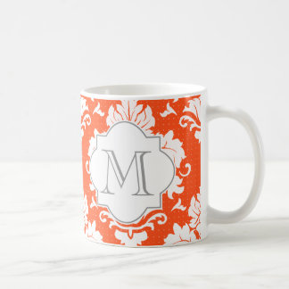 Damastast Monogrammed mugg för orange & för vit