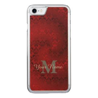Damastast monogrammönster för röd vintage carved iPhone 7 skal