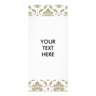 Damastast mönster för guld- och vitvintage reklamkort