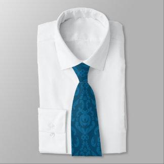 Damastast mönster för lägenhetblått slips