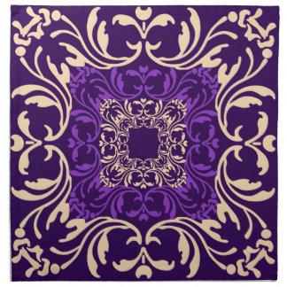 Damastast mönster för purpurfärgad vintage tygservett