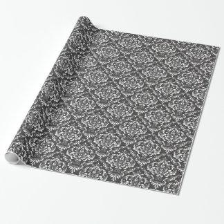 Damastast mönster för svart vit presentpapper