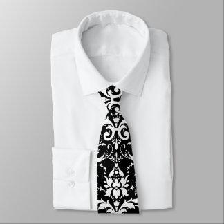 Damastast mönster för vit slips