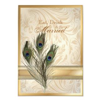 damastast påfågelrepetition middag för elegant 12,7 x 17,8 cm inbjudningskort