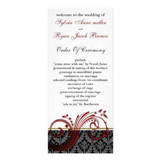 damastast röd bröllopsprogram anpassade rackkort