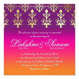 Damastast rosa purpurfärgad orange för indisk fyrkantigt 13,3 cm inbjudningskort