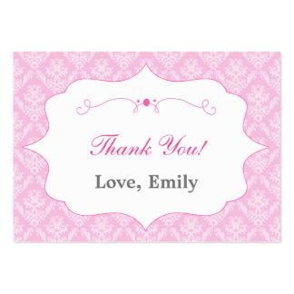 Damastast rosa tackmärkreetikett set av breda visitkort