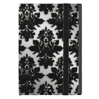 Damastast svart för glittermönstersilver iPad mini skydd
