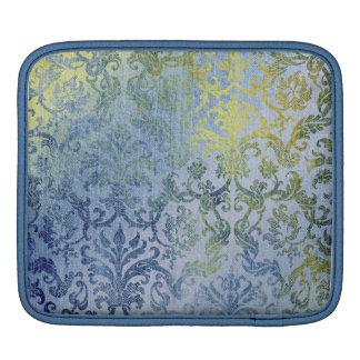 Damastast tapetmönster för blått och för guld sleeve för iPads