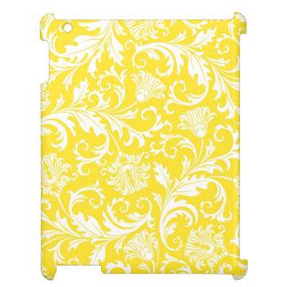 Damaster för vit- & gultvintageblommigt iPad skydd