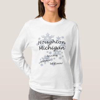 Damer för Houghton Michigan Snowflakesnö T-shirt
