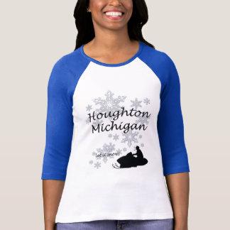 Damer för Houghton Michigan Snowmobilesnö T-shirts