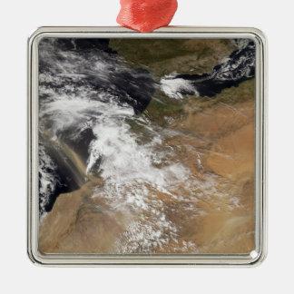 Damma av putsar av den marockanska kusten silverfärgad fyrkantigt julgransprydnad