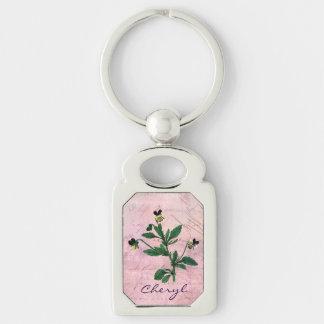 Dammig rosa vintageViola Rektangulärt Silverfärgad Nyckelring