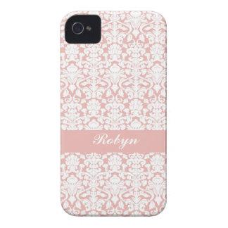 Dammigt rosa damastast personligt mönsteranpassnin iPhone 4 Case-Mate fodraler