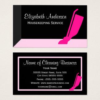Dammsuga flickaktigt den tjänste- rosa och svart visitkort