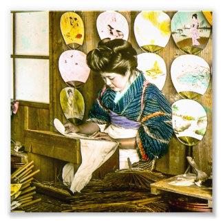 Danandepappersfläktar i gammal Japan vintage Fototryck