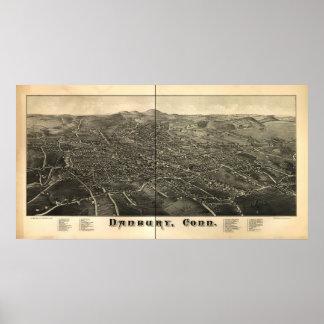 Danbury Connecticut 1884 panorama- karta Poster