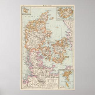 Danemark - Danmark karta Poster