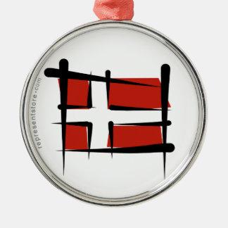 Danmark borstar flagga julgransprydnad metall