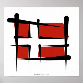 Danmark borstar flagga poster