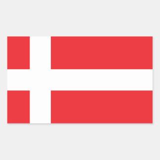 DANMARK FLAGGA DANNEBROG REKTANGULÄRT KLISTERMÄRKE