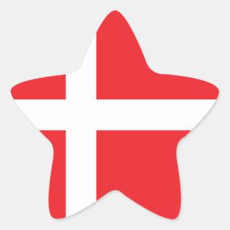 DANMARK FLAGGA DANNEBROG STJÄRNFORMAT KLISTERMÄRKE