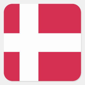 Danmark flagga fyrkantigt klistermärke