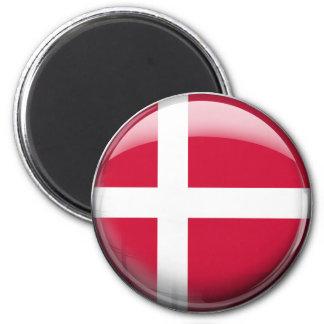 Danmark flagga magnet rund 5.7 cm