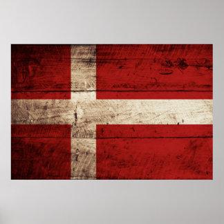 Danmark flagga på gammalt Wood korn Poster