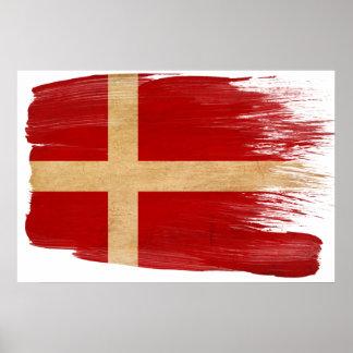 Danmark flaggaaffischer poster
