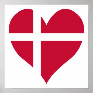 Danmark flaggahjärta poster