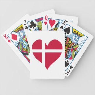 Danmark flaggahjärta spelkort