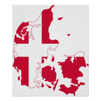 Danmark flaggakarta poster