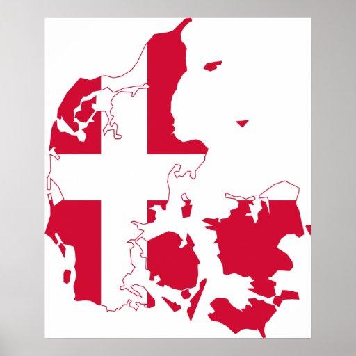 Danmark flaggakarta affischer
