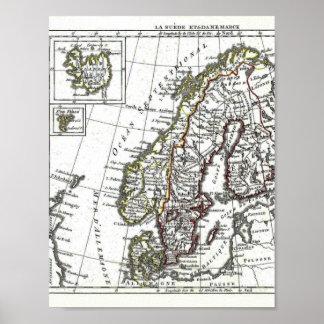 Danmark för sverigeislandnorge karta poster
