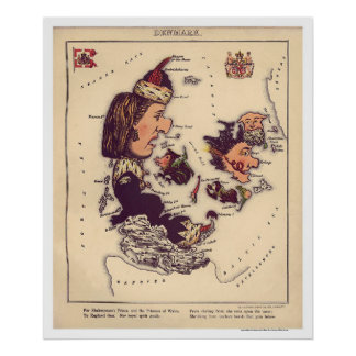 Danmark karikatyrkarta 1868 print