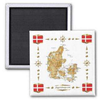 Danmark karta + Flaggormagnet Magnet