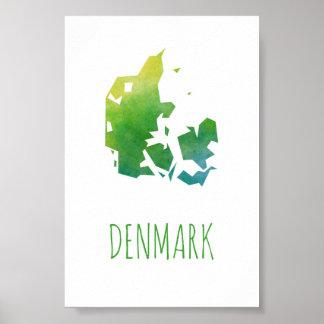 Danmark karta poster