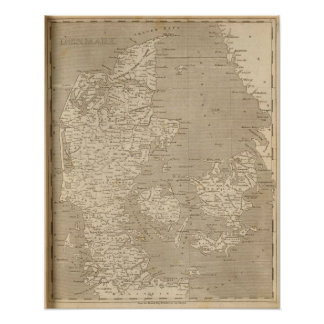 Danmark karta vid Arrowsmith Affisch