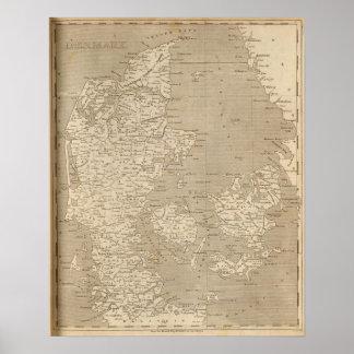 Danmark karta vid Arrowsmith Poster