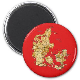 Danmark kartamagnet magnet rund 5.7 cm