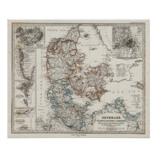 Danmark kartbokkarta med 5 satte in kartor affisch