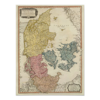 Danmark kartbokkarta poster