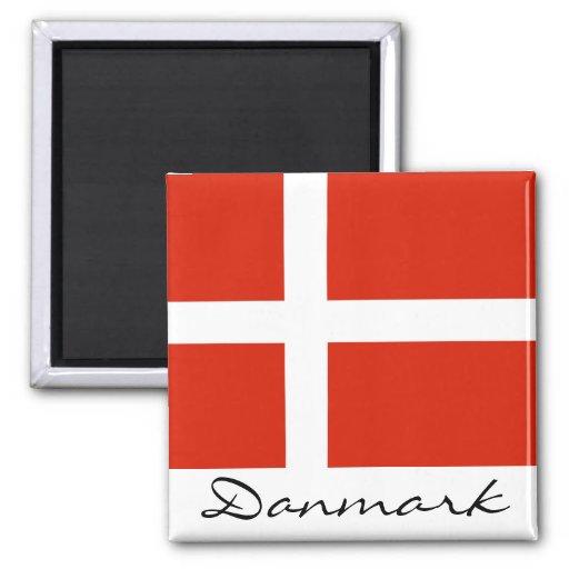 Danmark med Dannebrog Magnet För Kylskåp