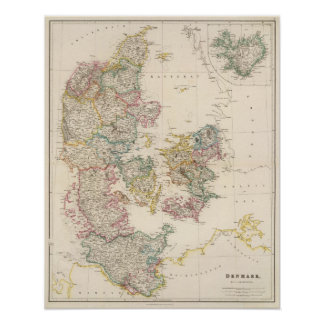 Danmark med inläggkartan av islandet poster